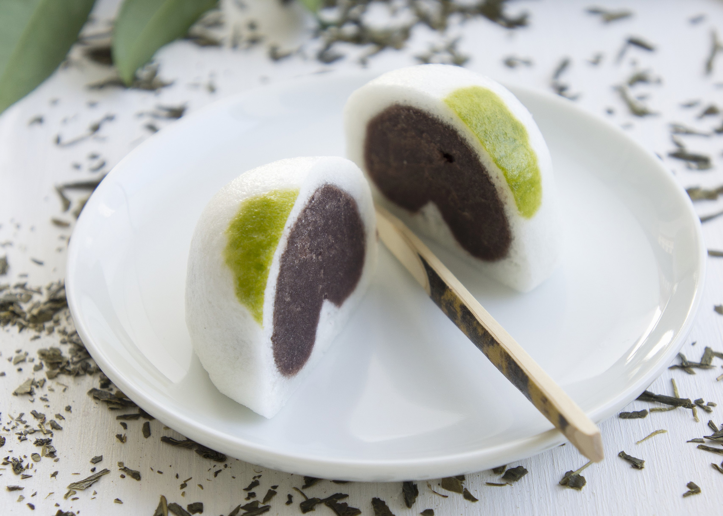 Daifuku mochi Japanese sweets made from mochi and anko on a plate
