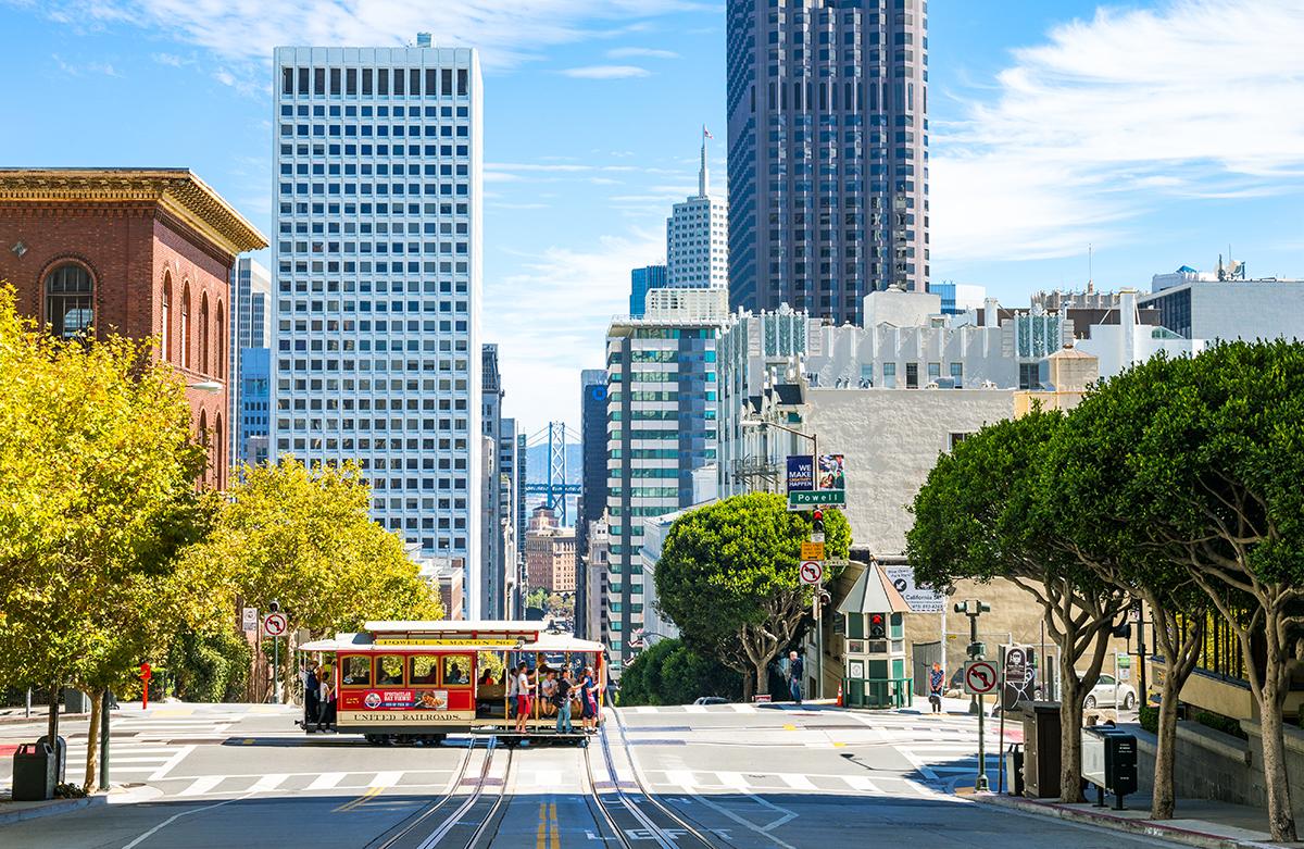 San Francisco cable car on a sunny day