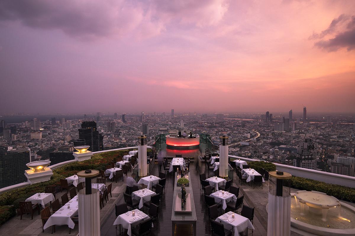 Rooftop bar at sunset in Bangkok