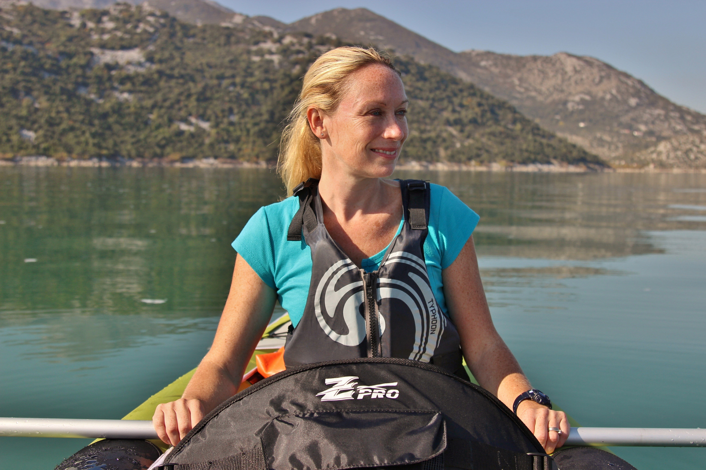 Emma Heywood on Lake Skadar
