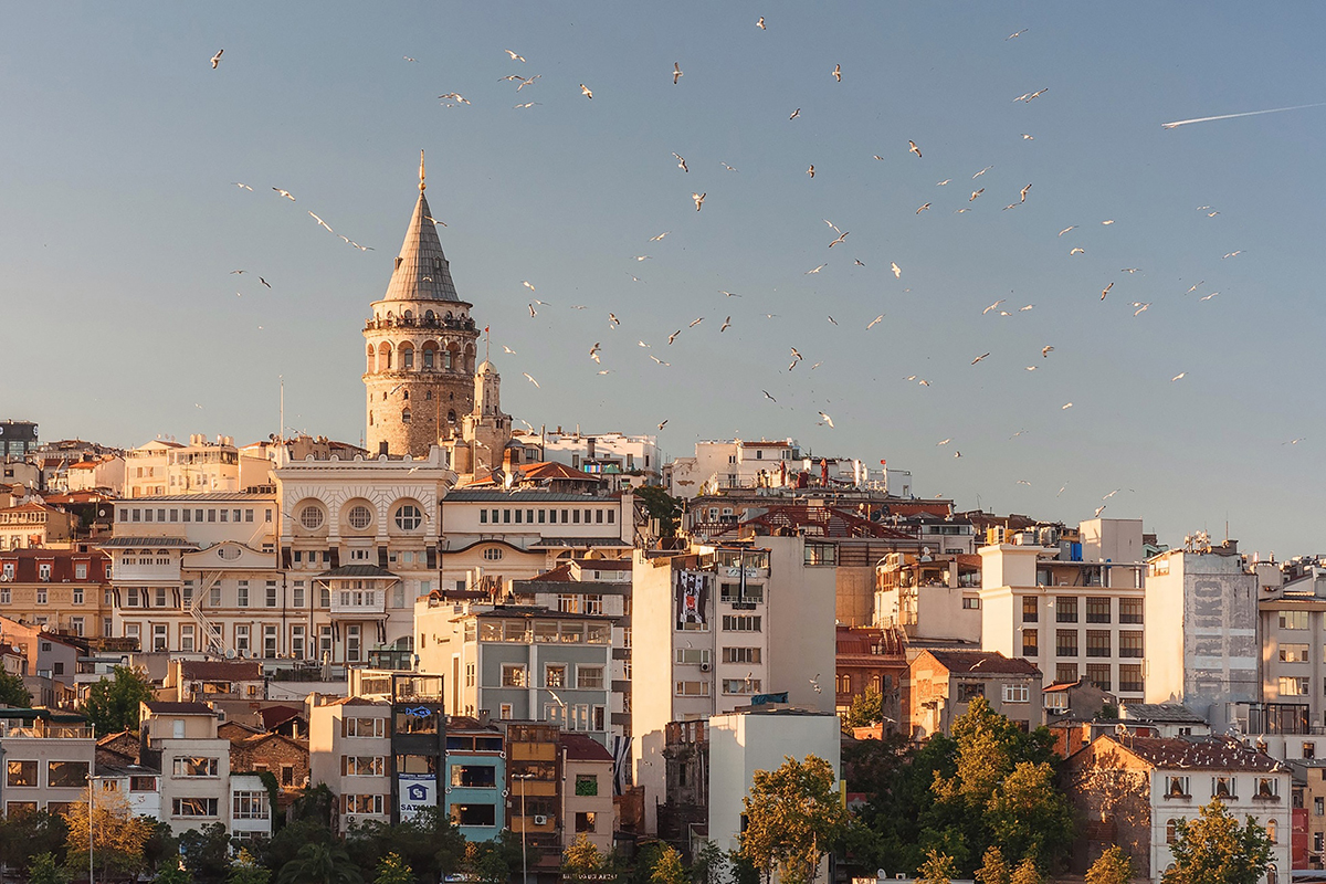 Galata Tower visible in Istanbul landscape