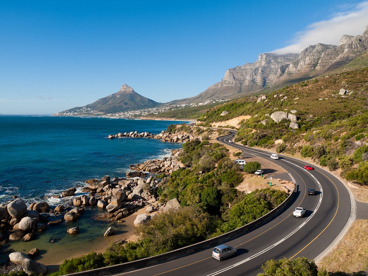 Garden Route - the road from Cape Town along the south African coast Pictured here is the end of the garden route as it goes past the Twelve Apostles Lions Head and towards Table Mountain South Africa