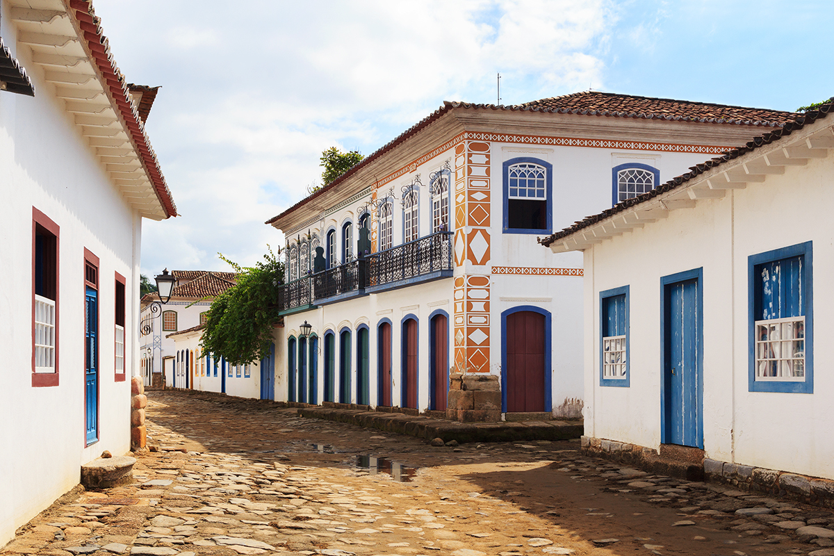 Street and old portuguese colonial houses in historic downtown in Paraty state Rio de Janeiro Brazil