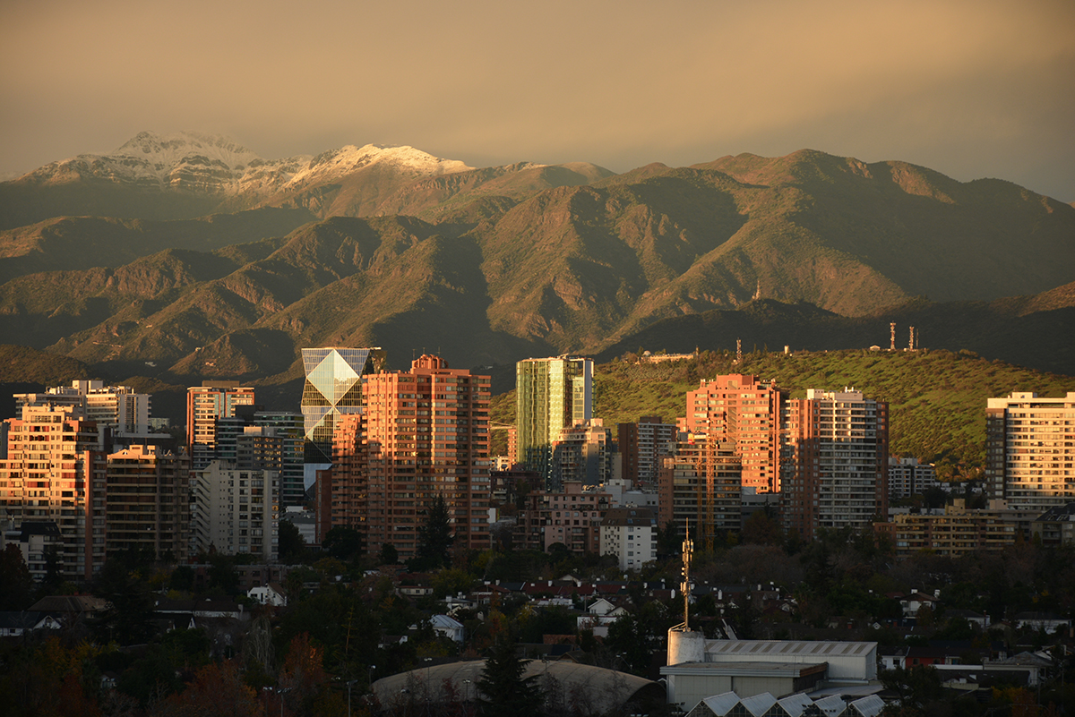 City buildings in front of mountainous landscape in Santiago chile