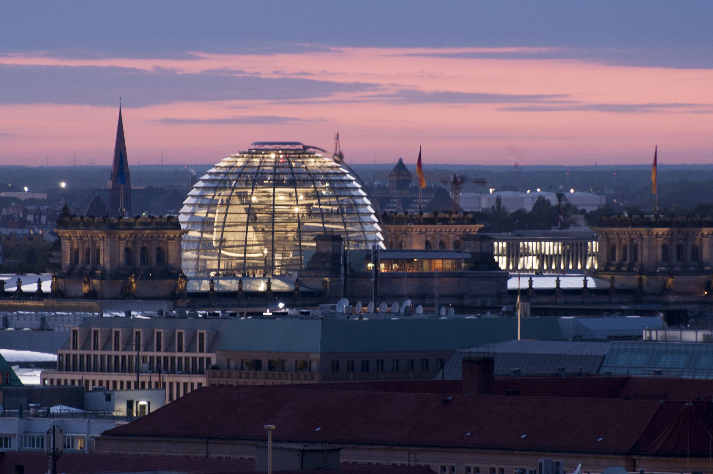 Views across Berlin including the Reichstag dome