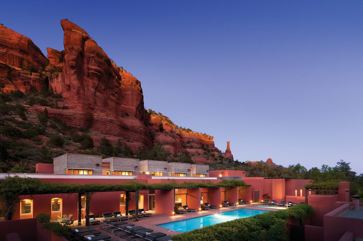 Mii amo accommodation with red rock backdrop