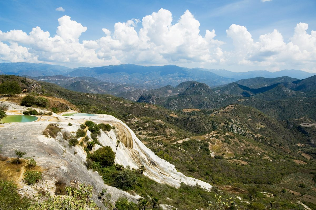 landscape views with petrified waterfall