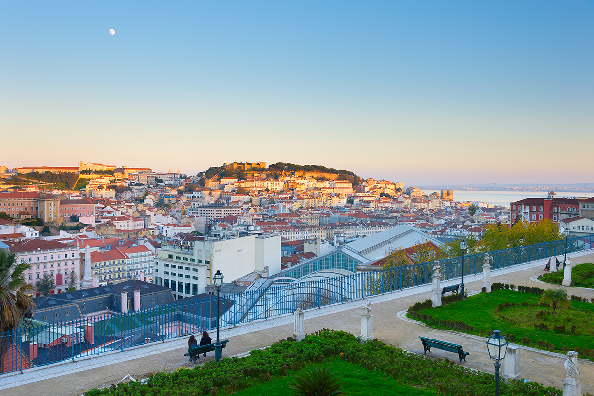 Skyline of Lisbon from Sao Pedro de Alcantara viewpoint