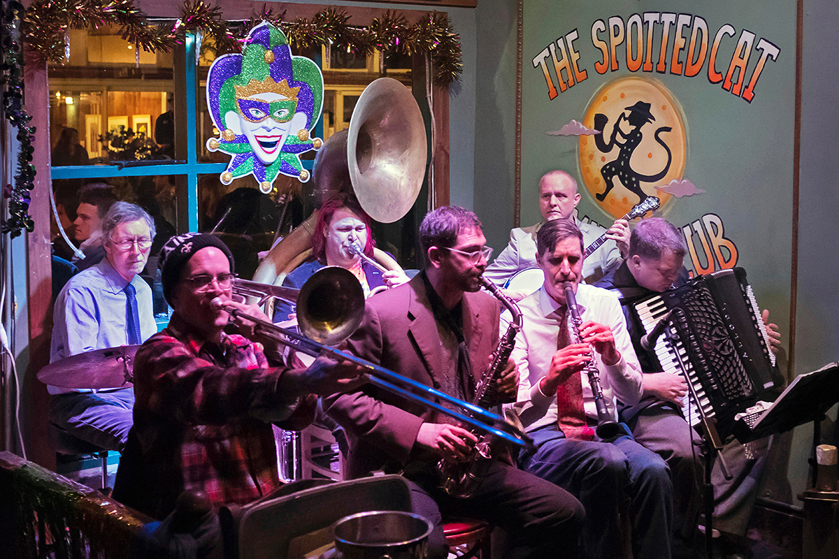 Jazz band performing at The Spotted Cat New Orleans Louisana USA