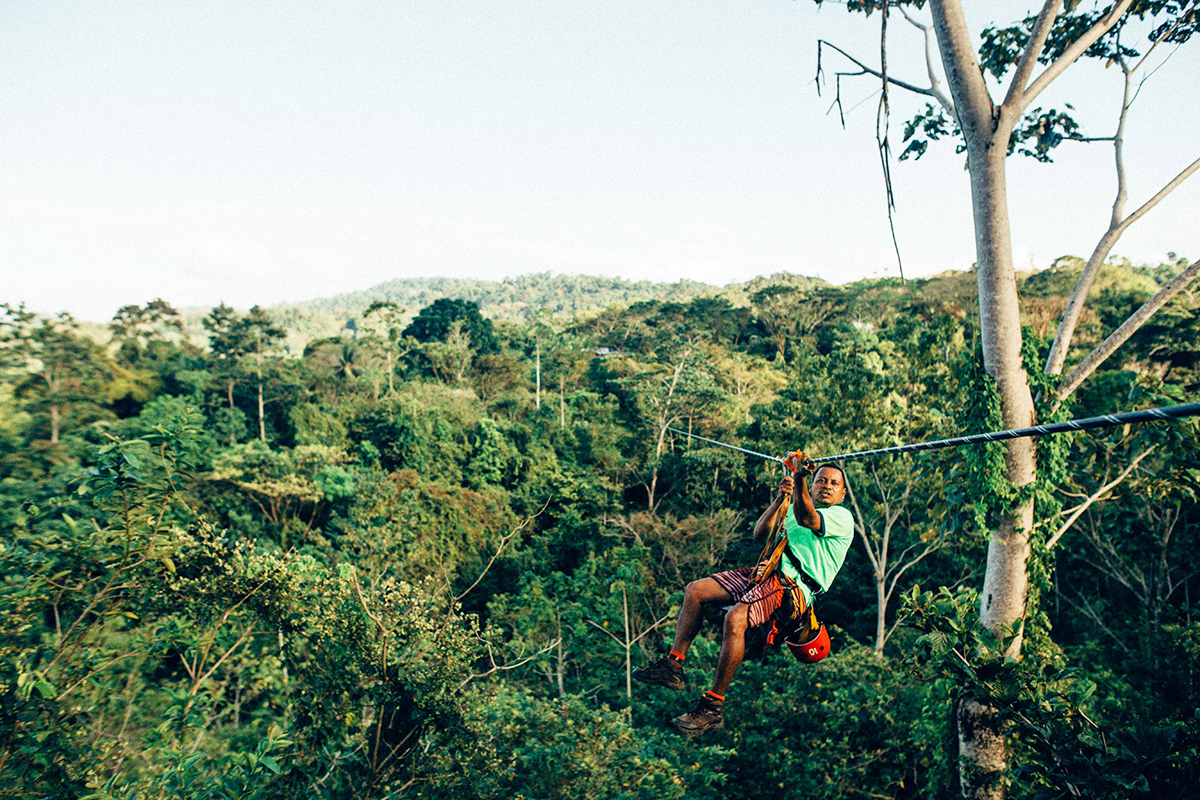 Man ziplining in Costa Rica