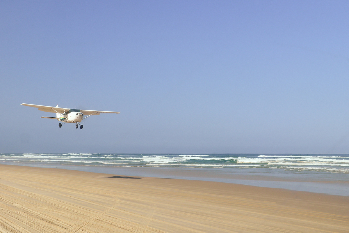 Plane just about to land on Fraser Island